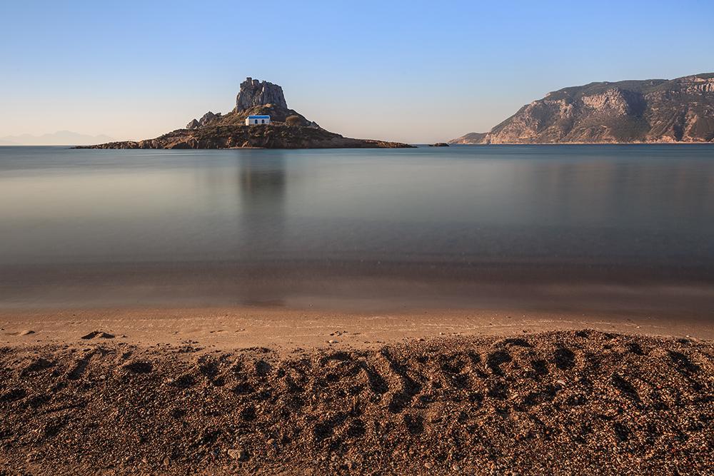 Island Kastri in sunrise. Kos island, Greece