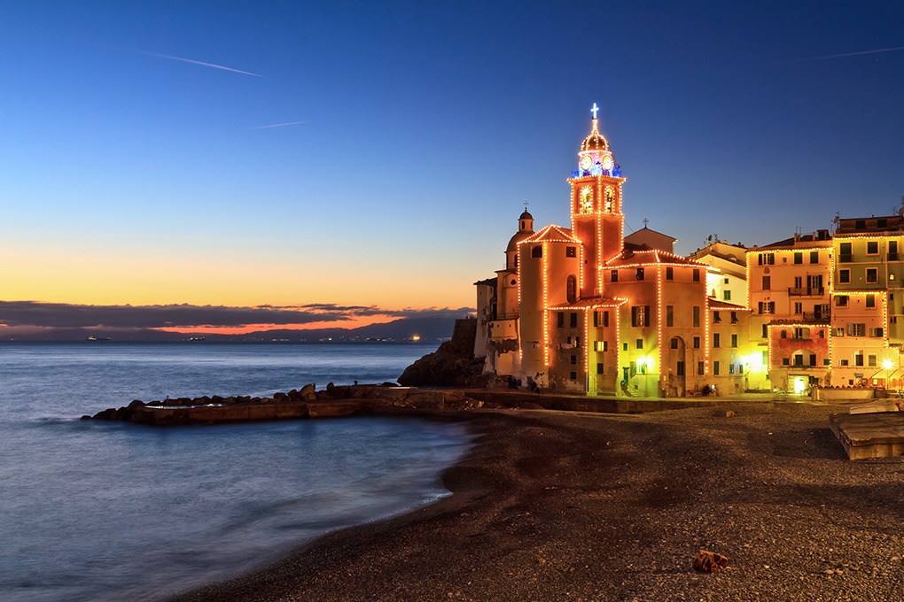 night scene in Camogli, famous small town in Liguria, Italy