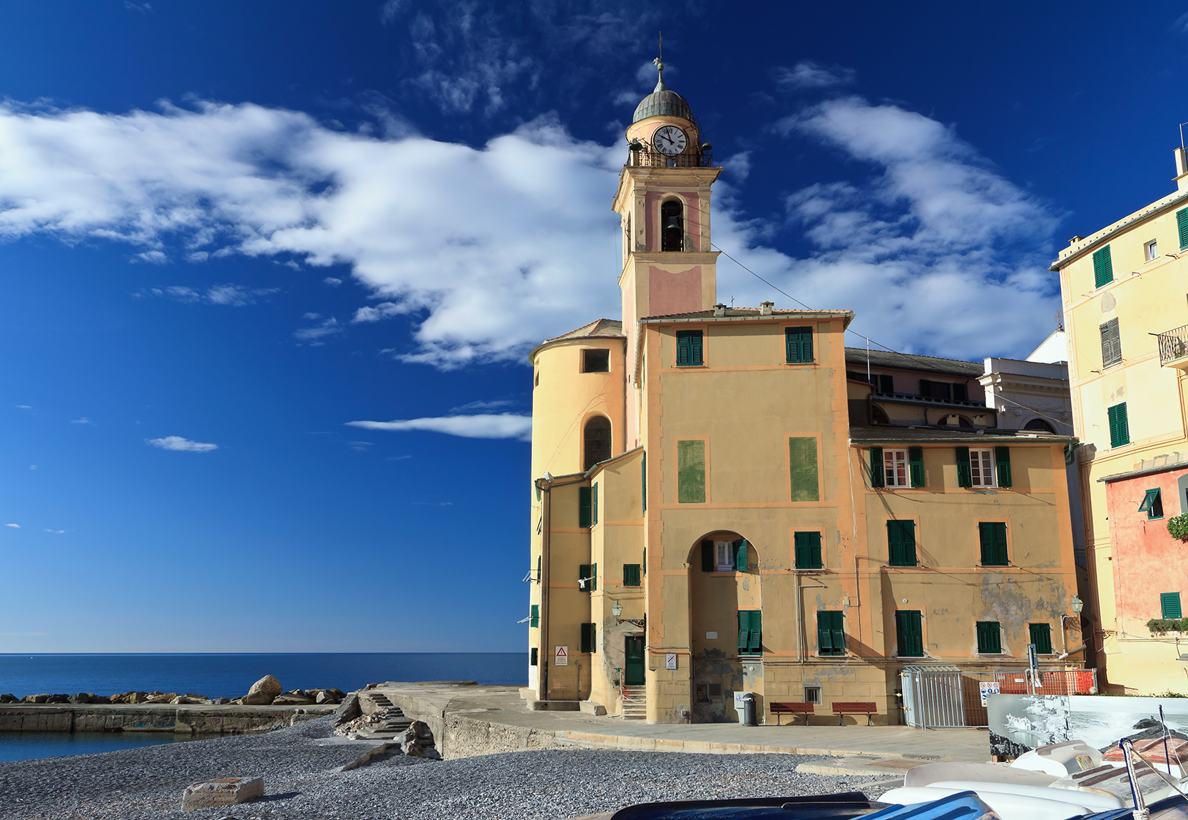 seaside and church in Camogli, Liguria, Italy