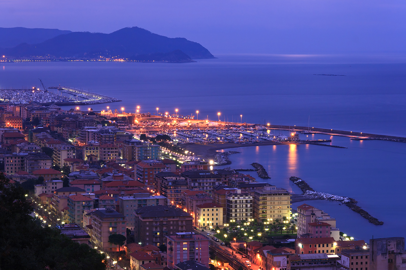 night scene in Chiavari,  beautiful town in Liguria, Italy