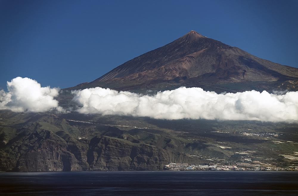 Volcano Teide seen from Agulo Village, La Gomera