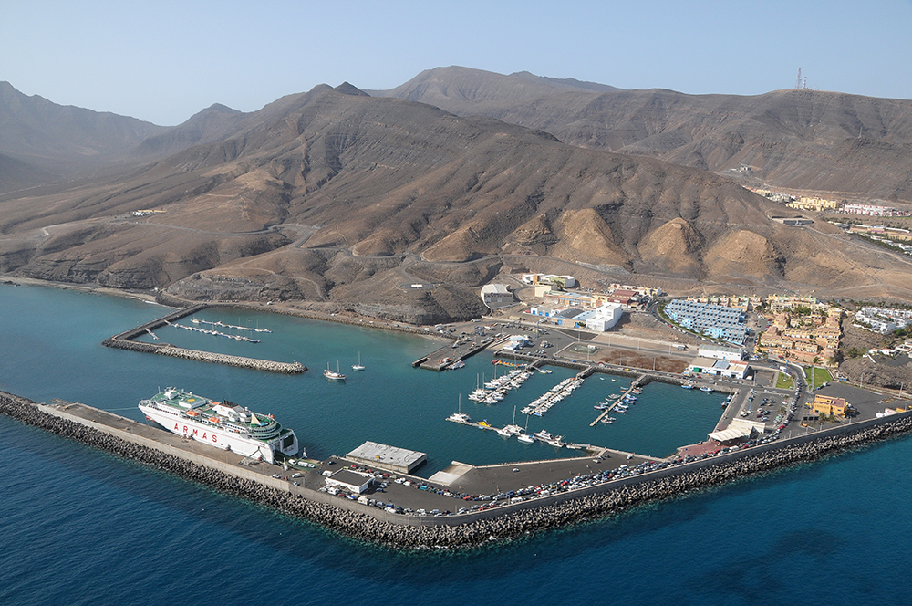 port of Morro Jable on the coast of Jandia, Fuerteventura island
